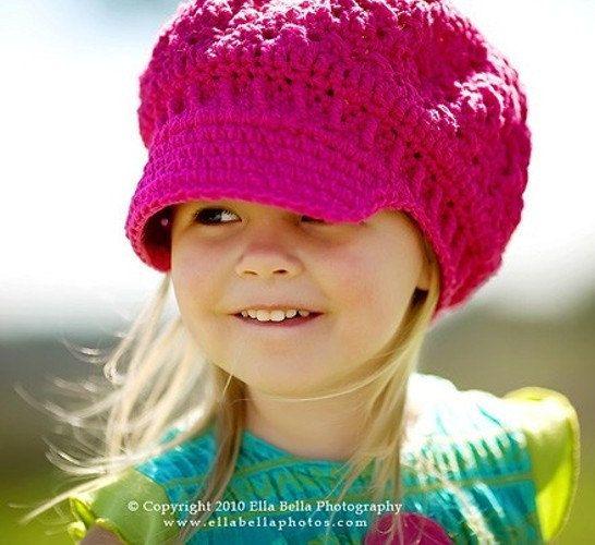 Crochet Hat Pattern Baby Girl Newsboy Hat Slouchy Hat Slouch Hat ...