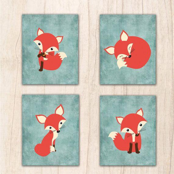 Fox Wall Art cute fox nursery wall art fox printable instant download fox wall
