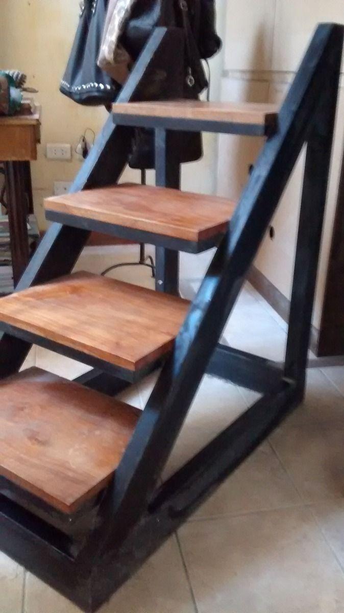 Escalera de hierro y madera en mercadolibre for Escalera recta de hierro y madera