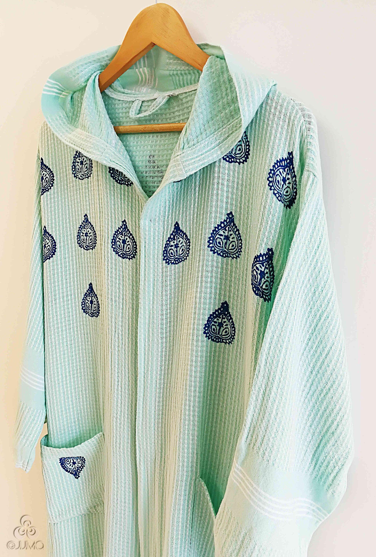 Hand Block Printed Mint Green Bamboo Turkish Peshtemal Robe Bathrobe Dark  Blue Ethnic Motifs Housecoat Unisex Beach Towel by JIJIMA on Etsy 7daa81aed