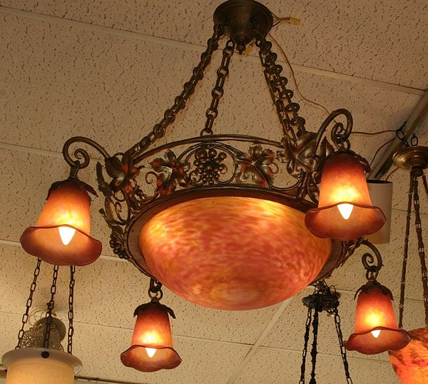 antique Tiffany lamps, Art Nouveau lamps and chandeliers, antique stained  and beveled glass - Pin By Louise Brown On Outrageous Orange Pinterest Chandeliers