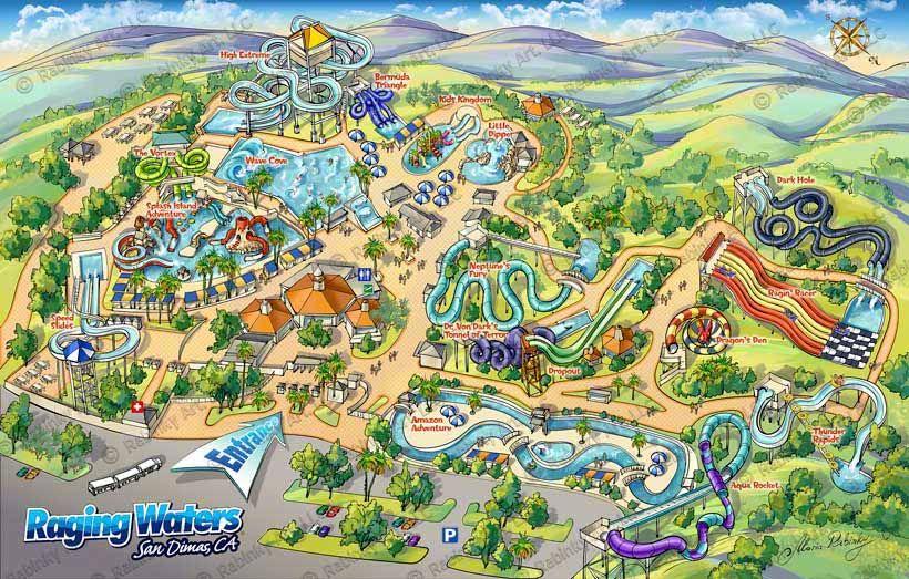 Raging Waters San Dimas Map Illustration Ca Theme Park Map Los Angeles Parks San Dimas