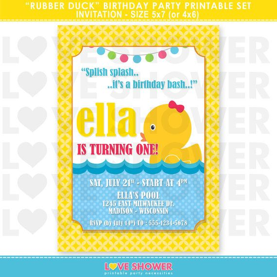 Rubber duck birthday invitation 5x7 4x6 printable digital rubber duck birthday invitation 5x7 4x6 printable by loveshower 1000 filmwisefo Image collections