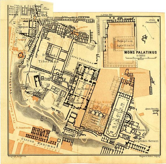 Palatine Hill 1909 Vintage Map Ancient Rome Archeological Site