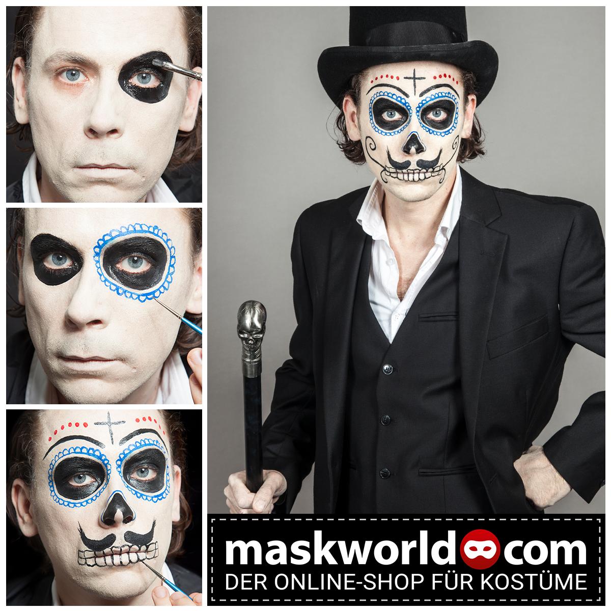 Dia De Los Muertos Make Up Mann Halloween Kostum Manner