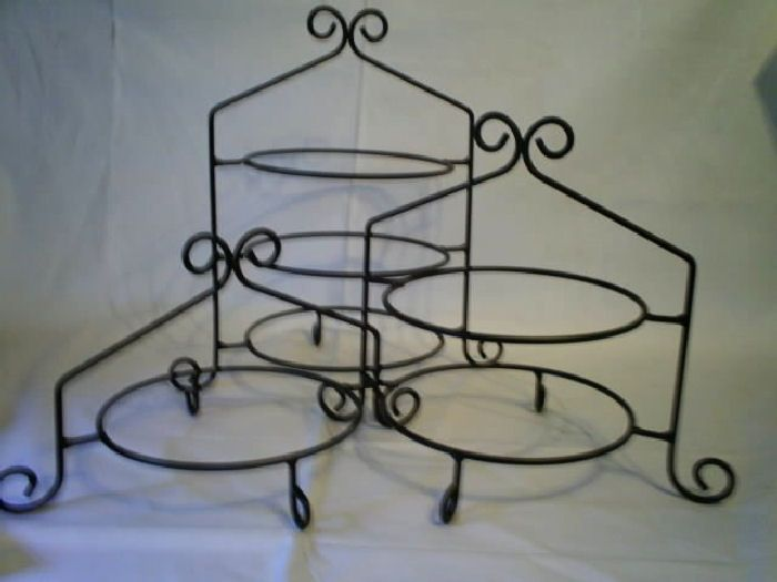 Tiered Buffet Display Stand | Black Iron Pie Plate Holder Rack 3 ...