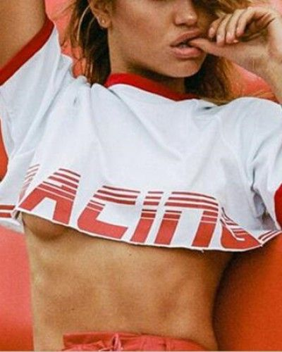 d16ac2374099b Letter racing extreme crop top for women short sleeve white cropped t shirt