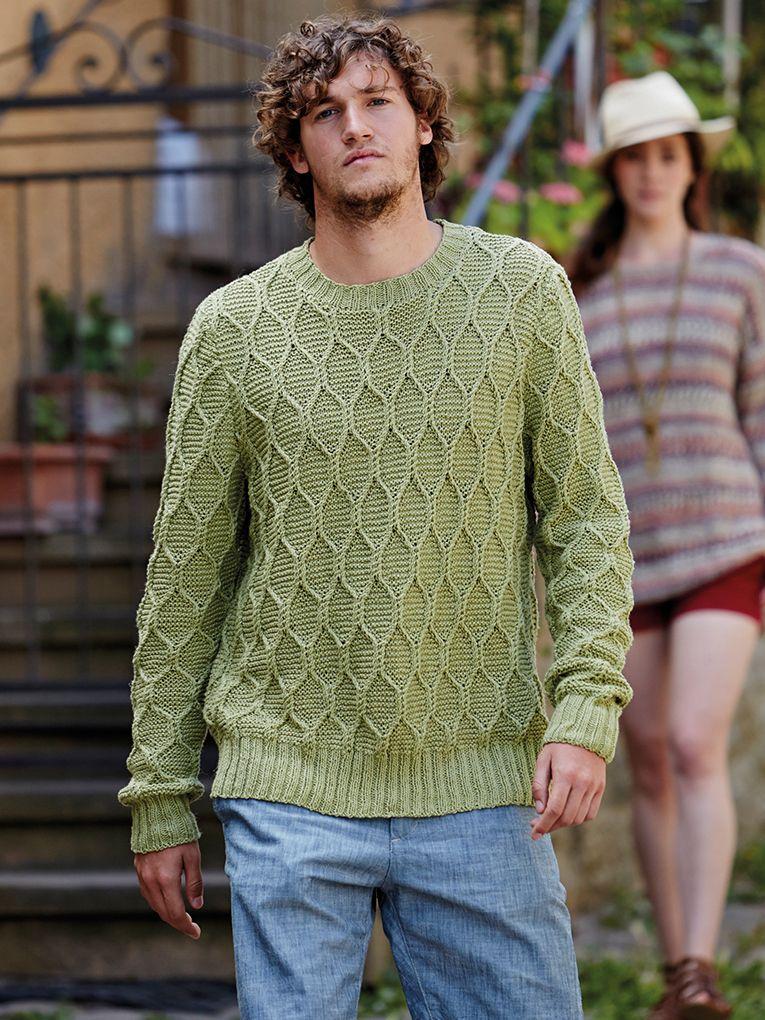 b7e8622fab5f96 Masotti - Knit this mans crew neck garter stitch cable jumper from Rowan  Knitting   Crochet Magazine 57