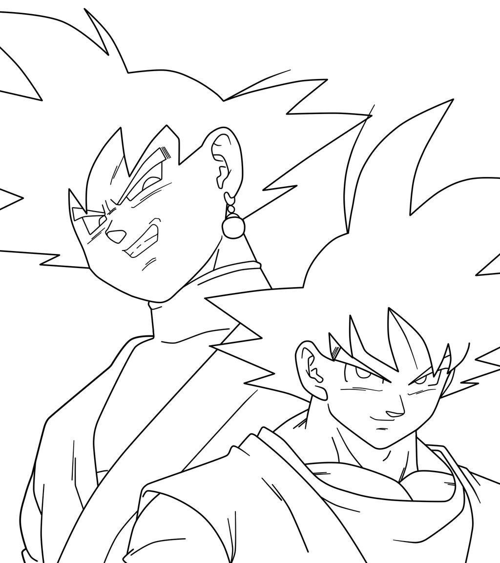 Goku Y Black Lineart By Saodvd On Deviantart Dragon Ball Super Art Dbz Drawings Dragon Ball Super Goku