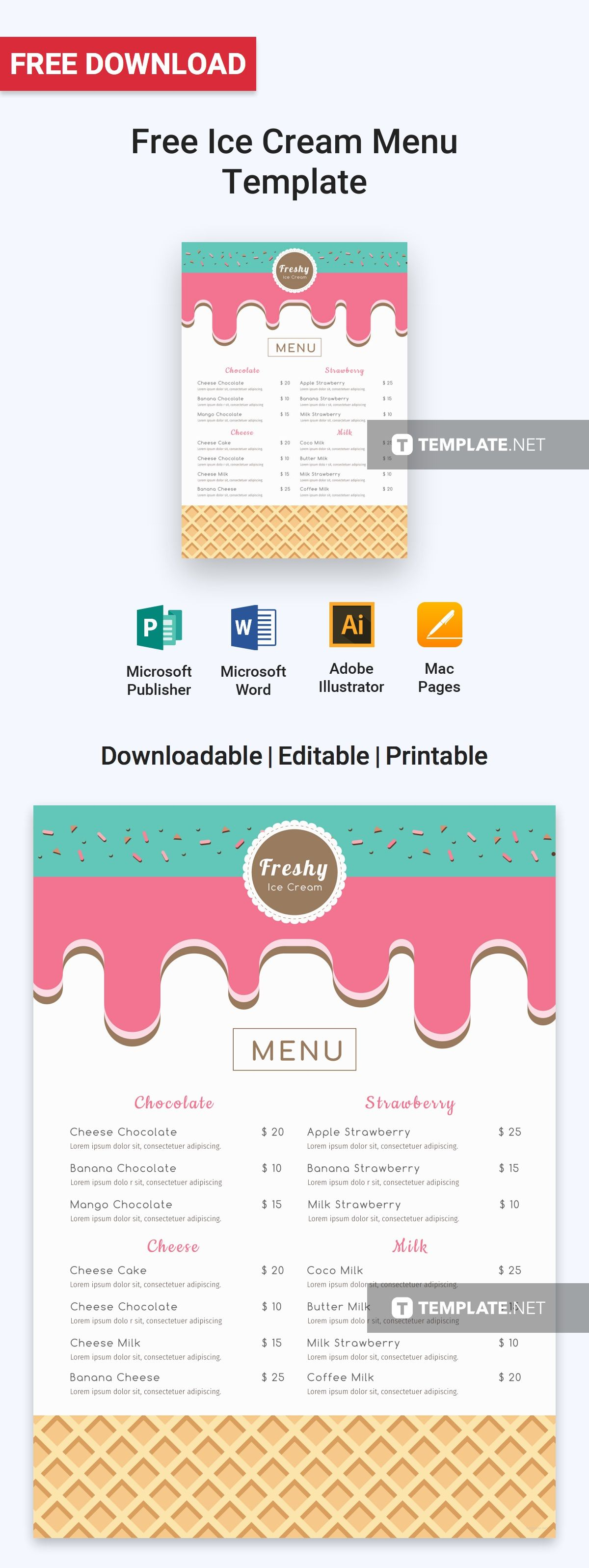 Menu Templates Free Microsoft Captivating Free Ice Cream Menu  Pinterest  Free Menu Templates Ice Cream .