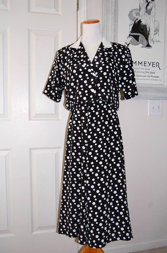 1980s Vintage Dress Black White Polka Dots