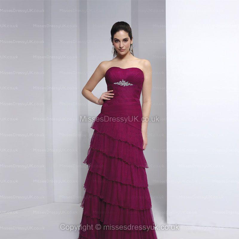sheath strapless chiffon formal dress