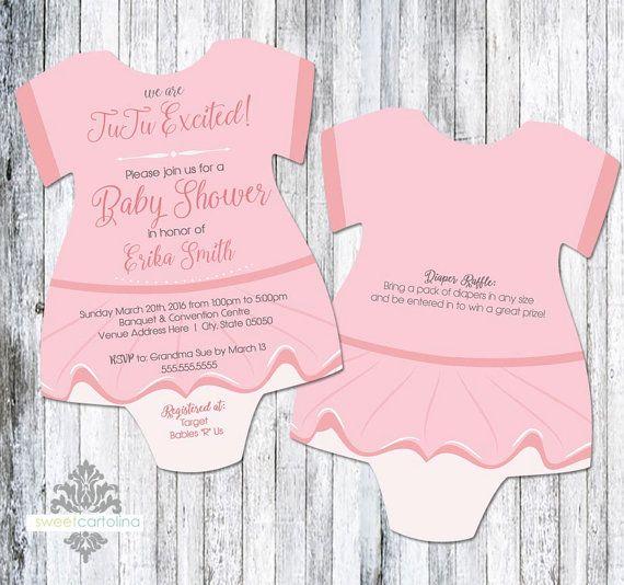 Ballerina Baby Shower Invitation Pink