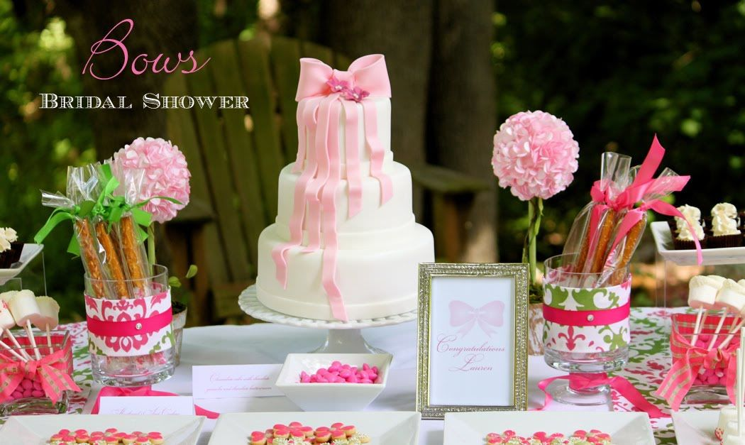 Bridal Shower Dessert Table Ideas gorgeous bridal shower dessert table decor with cakes Bridal Shower Dessert Table Sweets How Gorgeous Is This Bow Inspired Dessert Table It Was