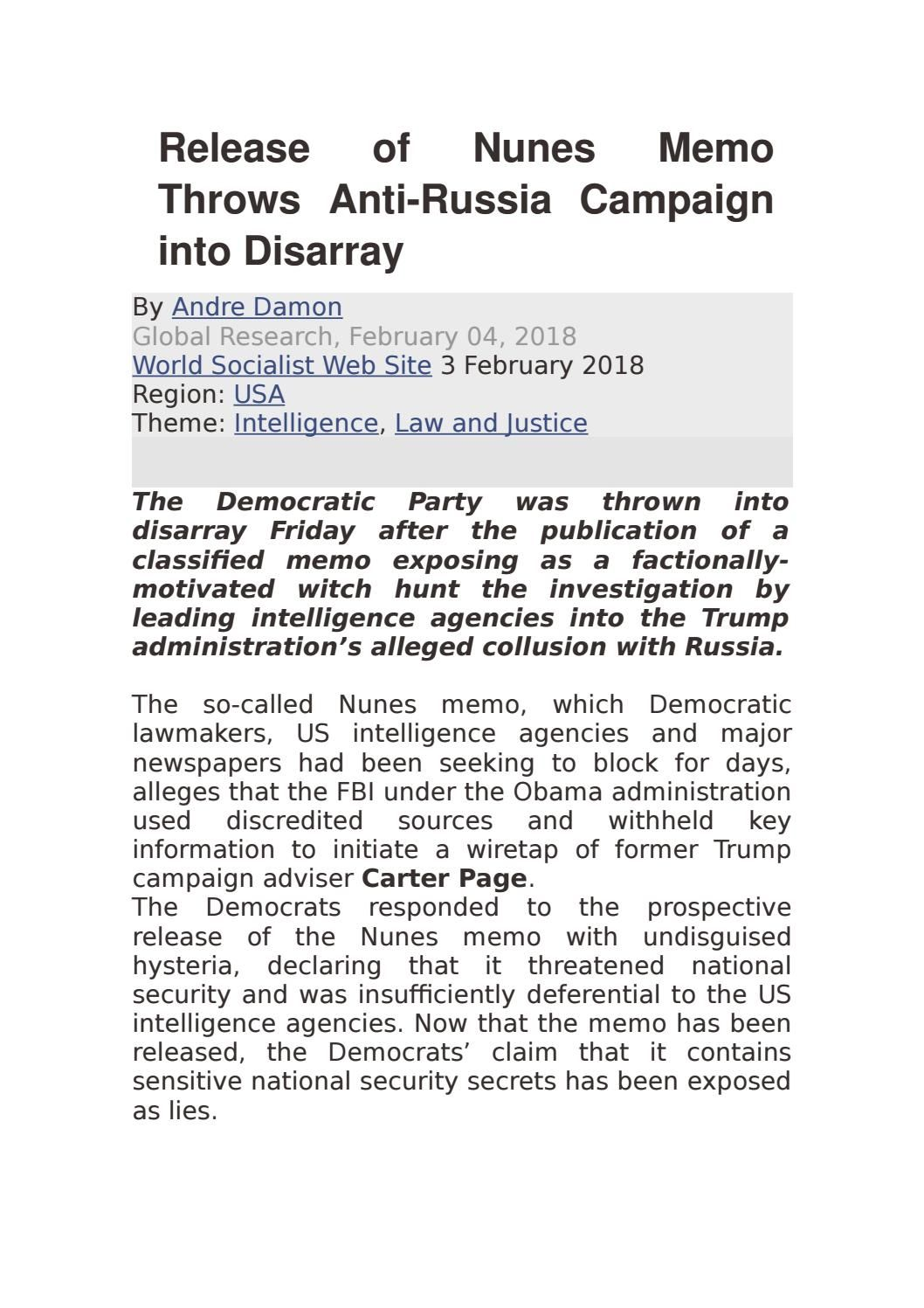 Of Nunes Memo Throws AntiRussia Campaign Into Disarray