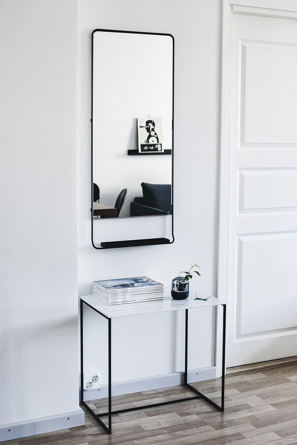 Hallway furniture with mirror  A Striking and Moody Finnish Home  Homemaker  Pinterest  Living