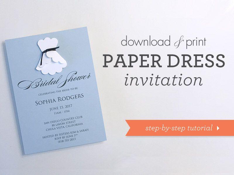 Grab the FREE shower invitation template! DIY 3D paper wedding dress shower invitation | Download & Print