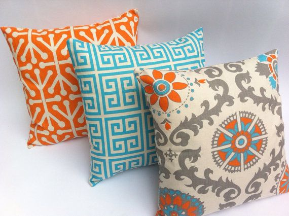 Turquoise Decorative Pillow Set : Turquoise and Orange Decorative Zippered Pillow Covers Set of Three Turquoise Blue and Orange ...