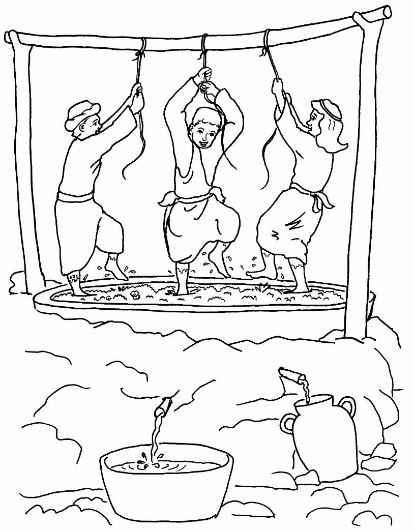 Vineyard Workers In A Winepress Bible Coloring Pages Bible
