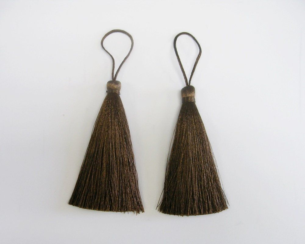 Brown Long Tassel Silk Fringe Trim Dangling Earrings Necklace Quilting Sewing