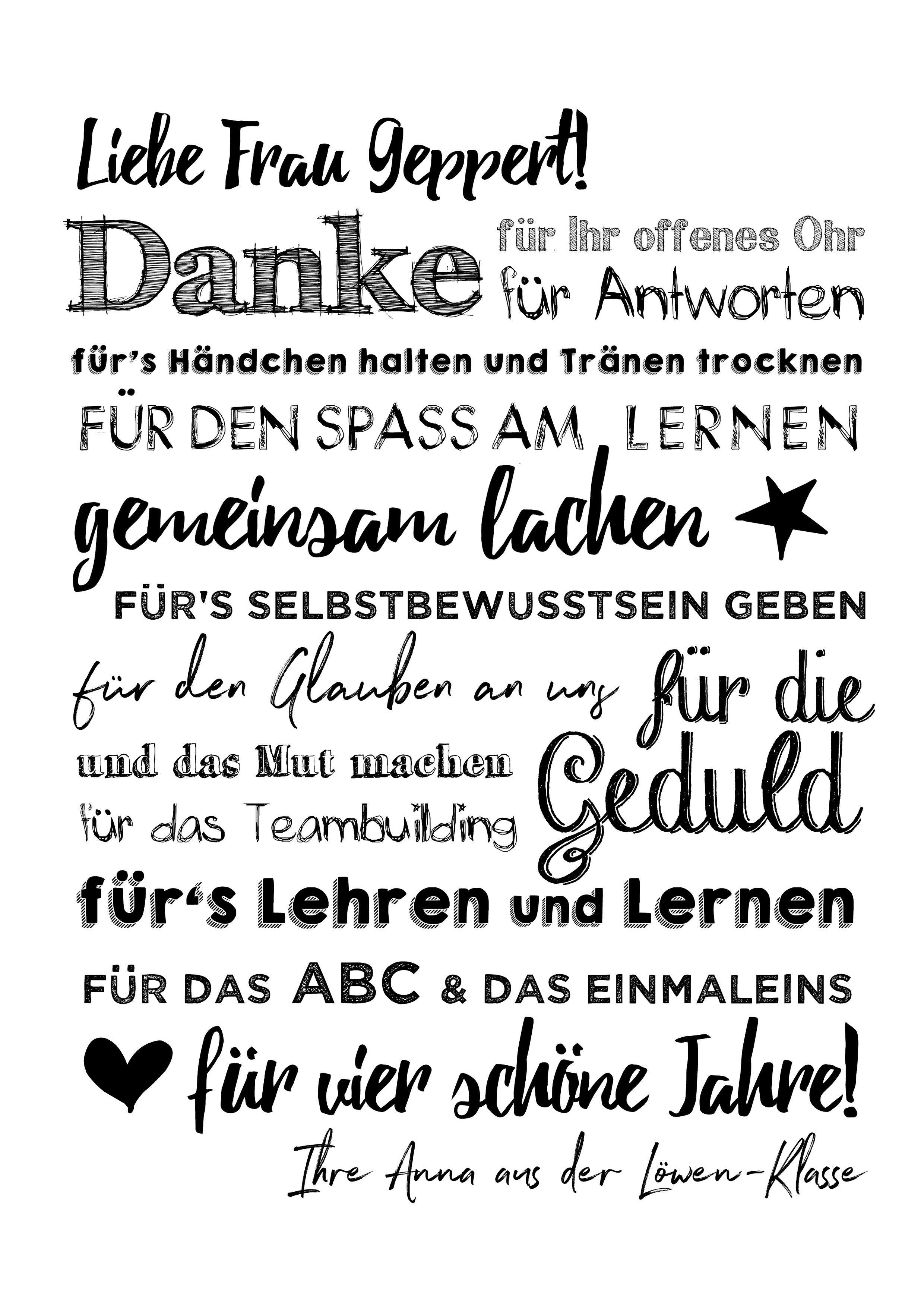 Poster DANKE für LEHRER #abschiedsgeschenkerzieherin