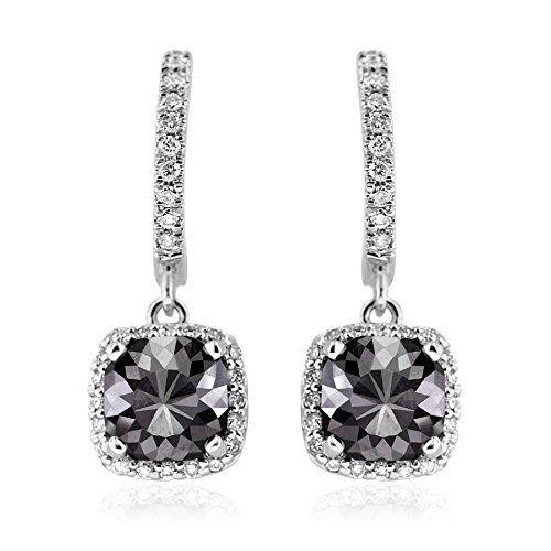 Black Diamond Dangling Earrings with White Diamond Halo