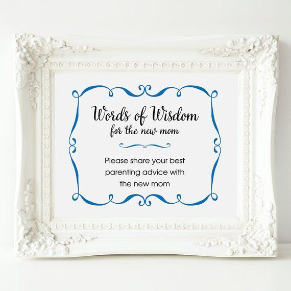 Words Of Wisdom For The New Mom Baby Shower Advice Sign