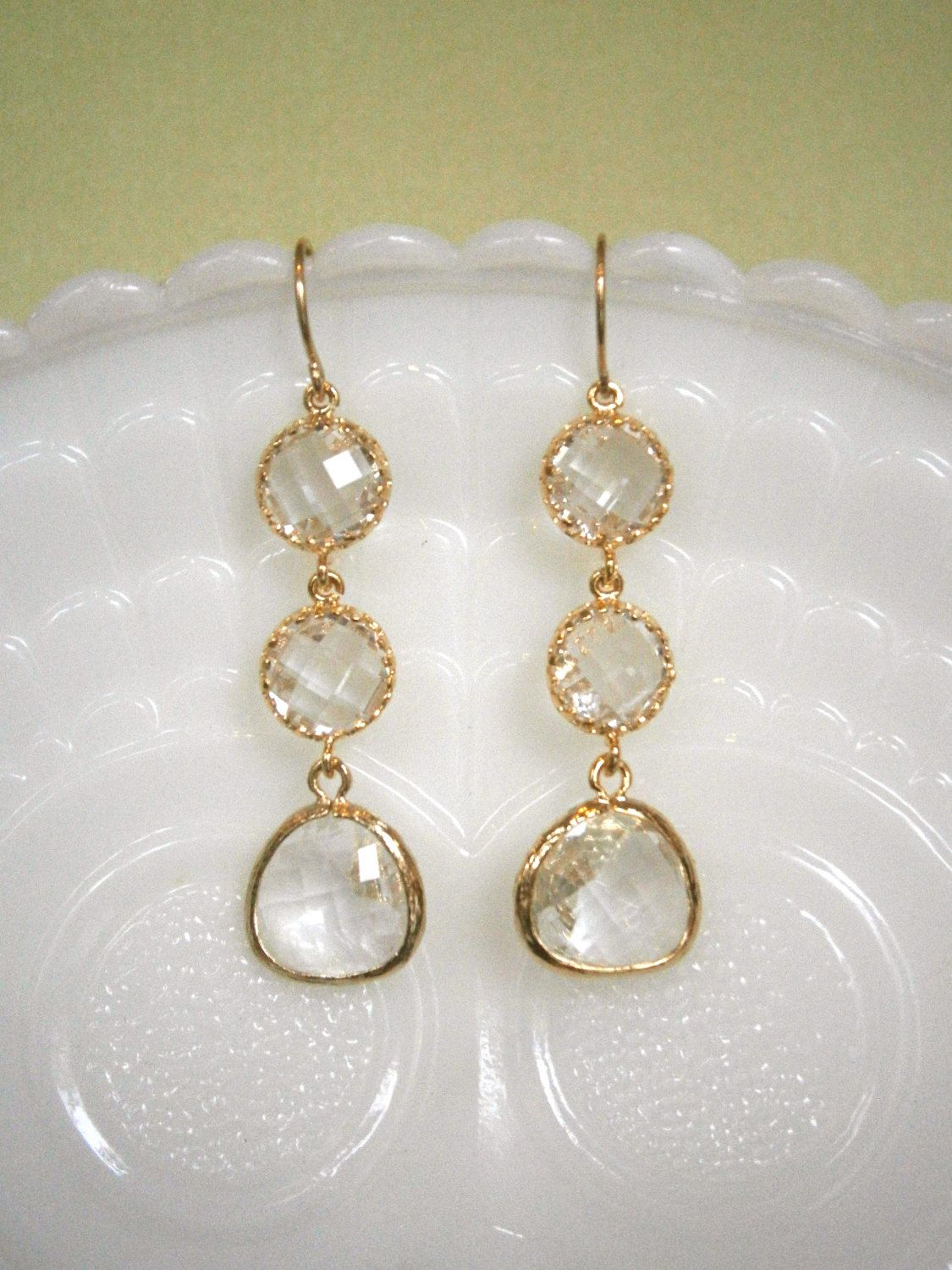 Clear Crystal Earrings, Gold Framed Glass, Bridal Jewelry, Wedding Jewelry, Bridesmaid  Earrings