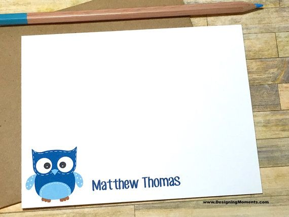 Personalized Owl Stationery  Baby Shower Note Cards  Thank