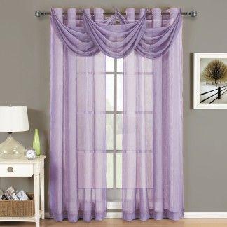 Abri Lavender Grommet Crushed Sheer Curtain Panel Http
