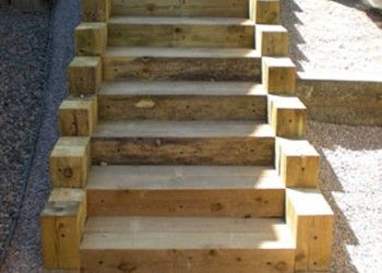 This One Is Built From 6 X 6 Treated Timbers Garden Stairs How To Build Steps Outdoor Stairs