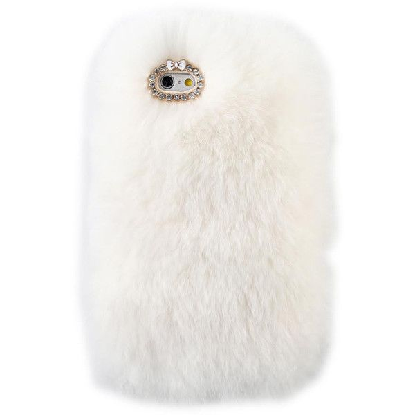 COZY FUR PHONE CASE WHITE (£23) ❤ liked on Polyvore featuring accessories and tech accessories