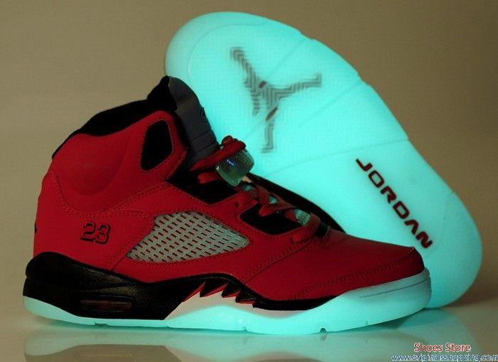 3fd86c1596e7 ... promo code for air jordan 5 shoes glow in the dark raging bull red  a9218 01530