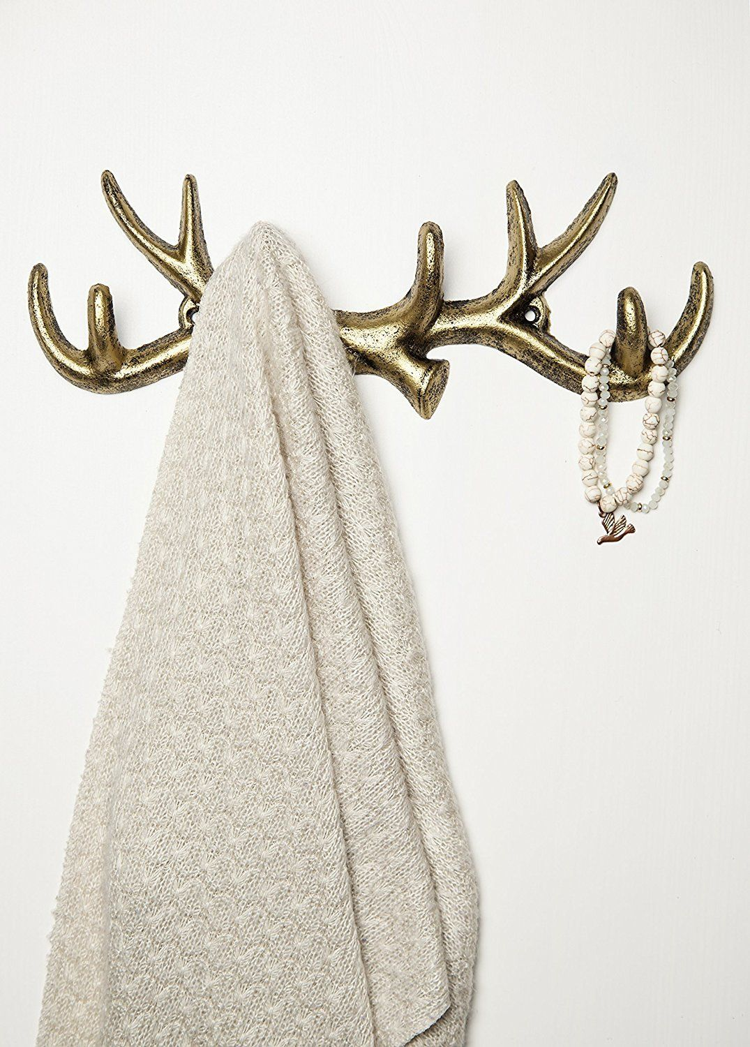 Cast Iron Deer Antlers Decorative Wall Hooks Wall Mounted Coat