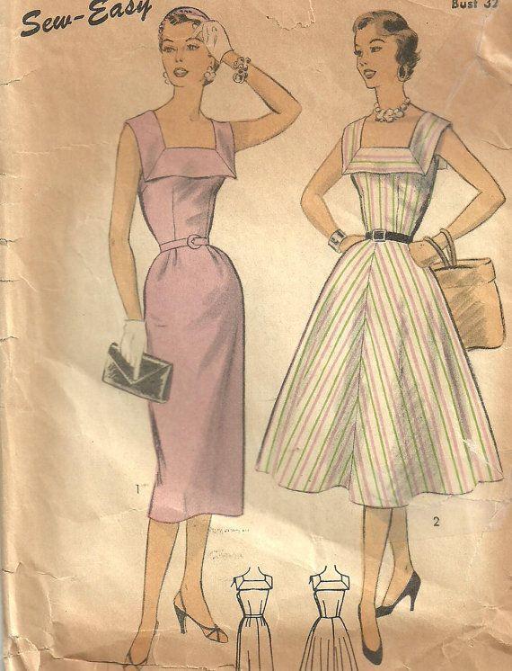 Vintage 50er Jahre Schnittmuster / / 6643 von studioGpatterns | 50s ...