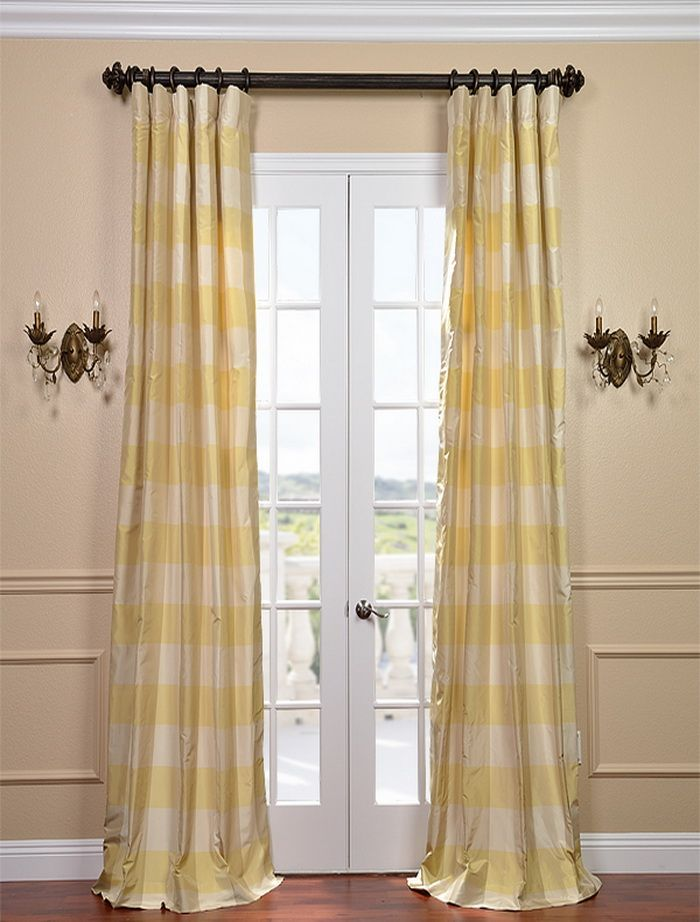 Knotts Landing Taffeta Silk Plaid Curtains & Drapes | Half Price Drapes $220