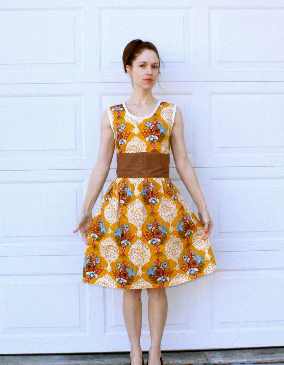 Gold Retro Dress Women's Vintage Inspired by SweetHomeBoutique, $80.00