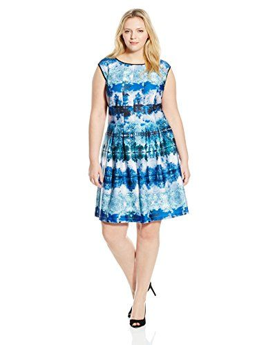 Gabby Skye Women's Plus-Size Nature Print Fit-and-Flare Dress