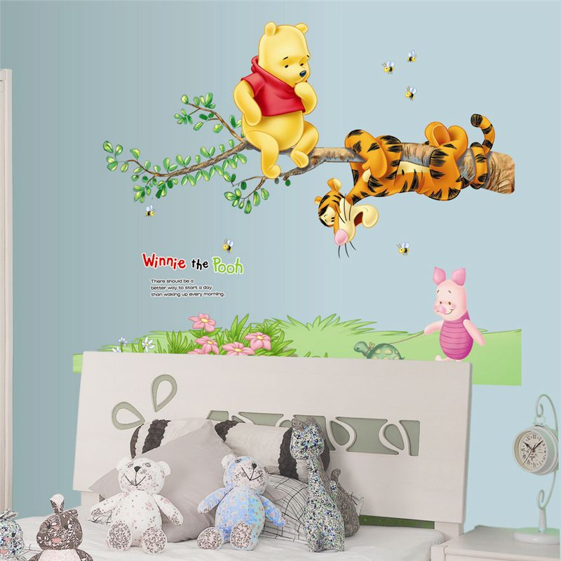 Winnie the Pooh Tiger Rabbit Wall Stickers for Kids Room Decoration ...