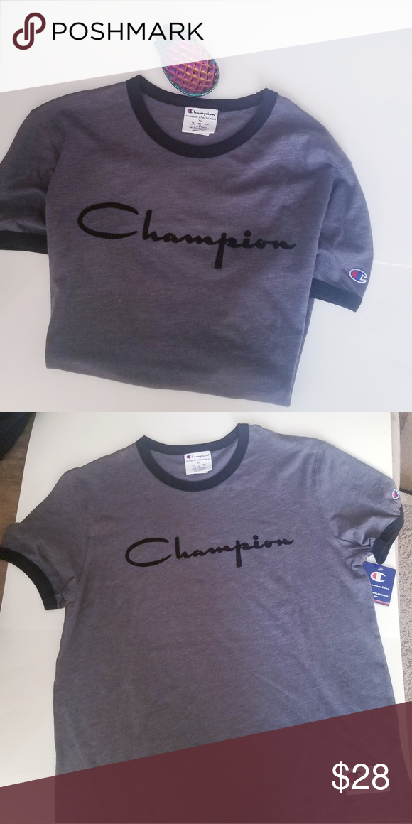 186a9a738222 CHAMPION HERITAGE RINGER TEE REALLY NICE GREY WITH BLK LETTERING CAN BE FOR  BOTH MEN OR WOMEN Champion Tops Tees - Short Sleeve