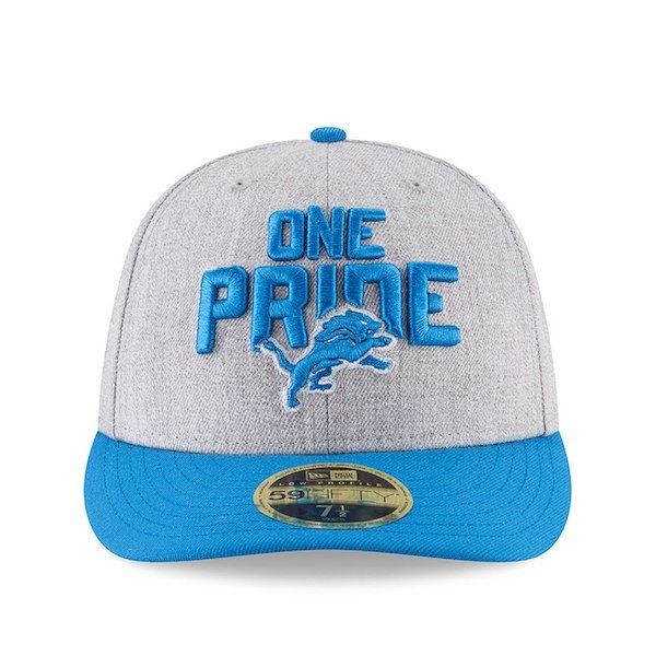 3729ef297cb New Era Detroit Lions Heather Gray Blue 2018 NFL Draft Official On-Stage Low  Profile 59FIFTY Fitted Hat
