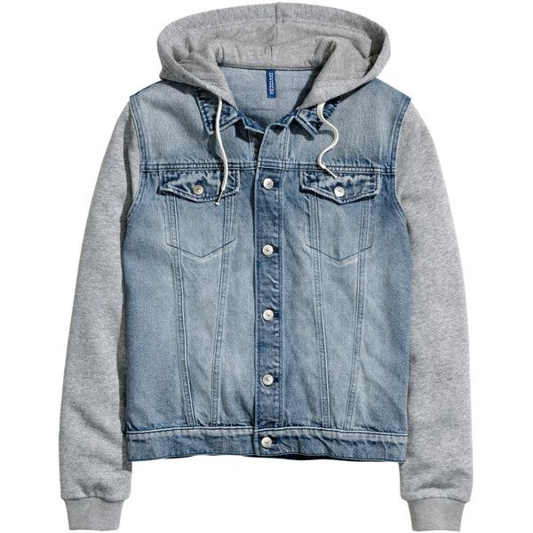 Hooded Denim Jacket $49.99 ($50) ❤ liked on Polyvore featuring ...