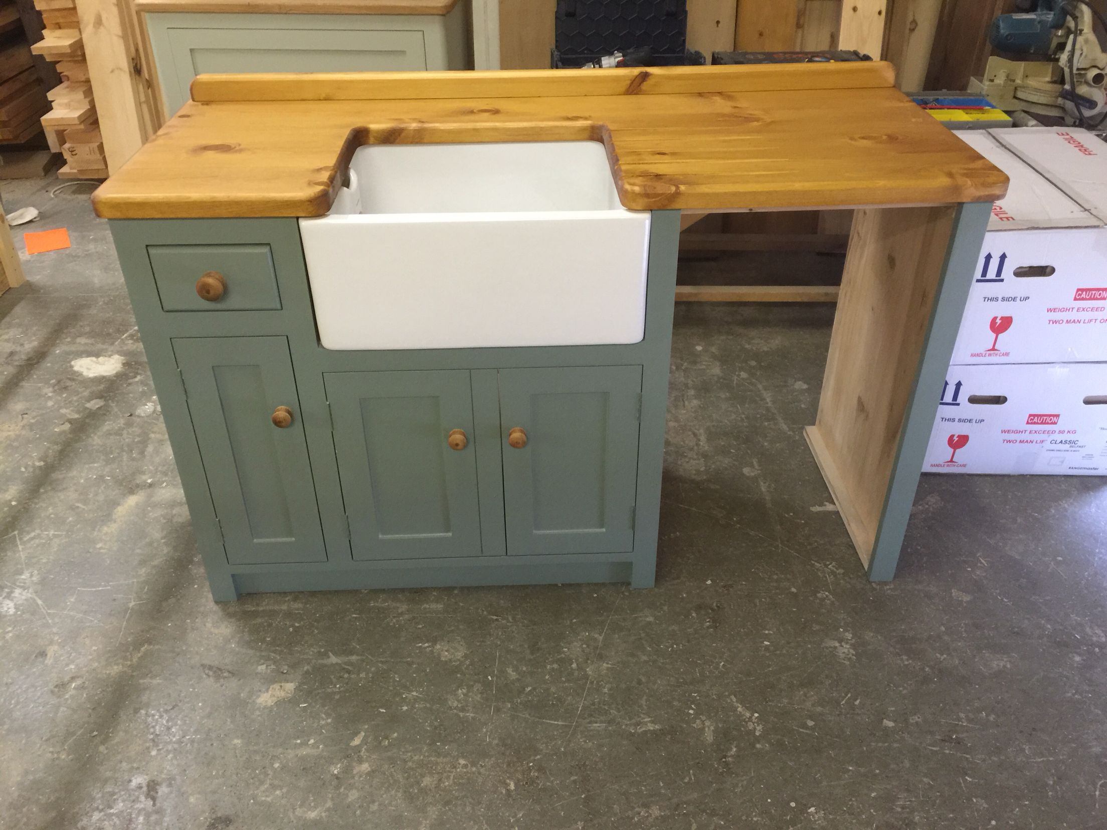Unfitted Kitchen Furniture Belfast Sink Unit With Slimline Dishwasher Housing Tiny House