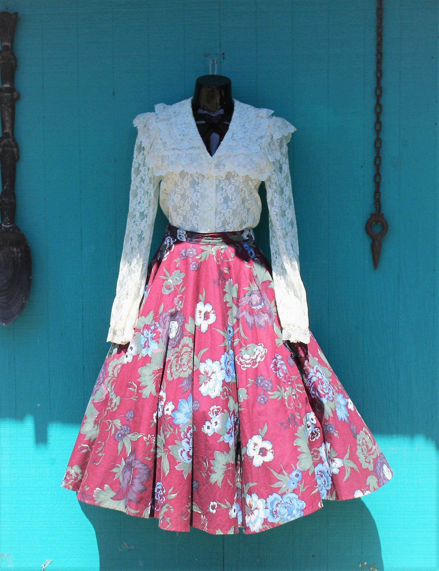 Vintage 70\'s GUNNE SAX Skirt - Prairie Floral Skirt Gunnies by Gunne ...