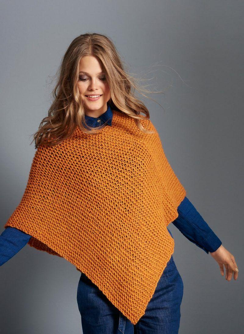 magnifique poncho en orange   – Poncho selber stricken