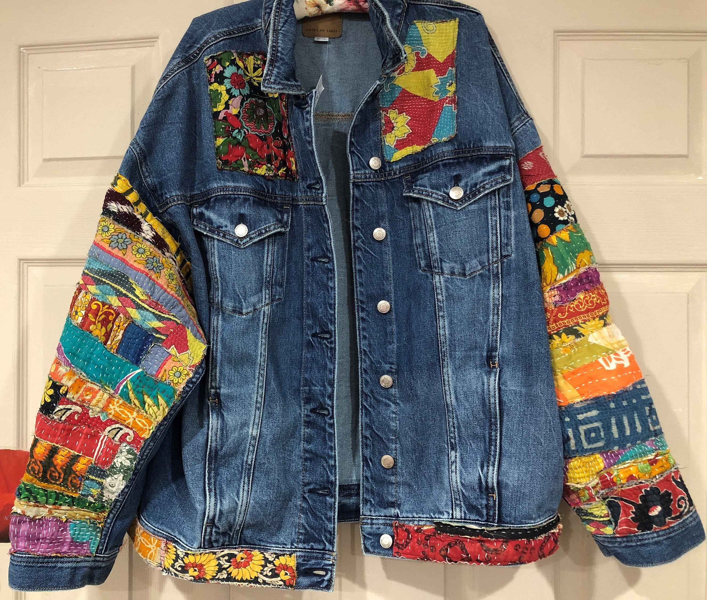 Jean Jacket Hippie Boho Embellished Colorful Denim Jean Jacket Etsy Colored Denim Jackets Jean Jacket [ 2544 x 3000 Pixel ]