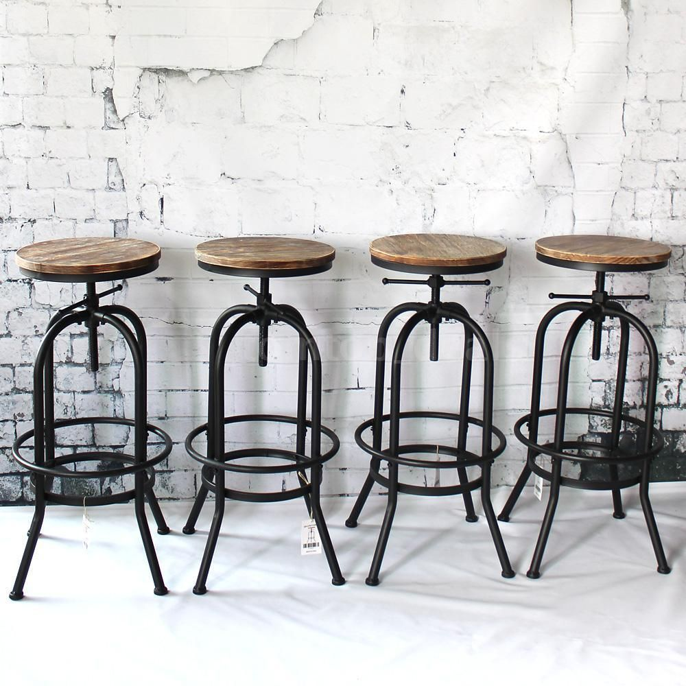 With Footrest To Put Your Feet When Seated Perfect To Use As A Bar Stool Dining Breakfast Kitchen Ch Bar Chairs Kitchen Wood Bar Stools Industrial Bar Stools