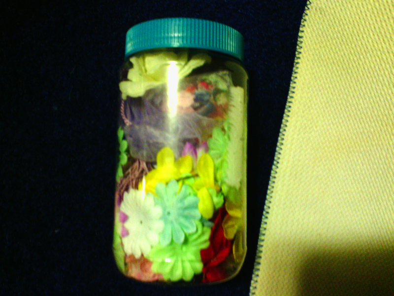 Jar of Silk flowers and petals for crafting great for cards or scrapbooking