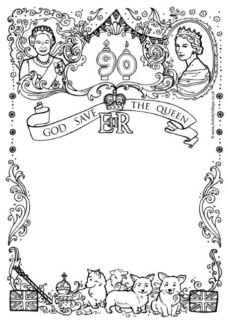Queens Th Birthday Writing Frame Drawing Pinterest - Childrens birthday cards for the queen