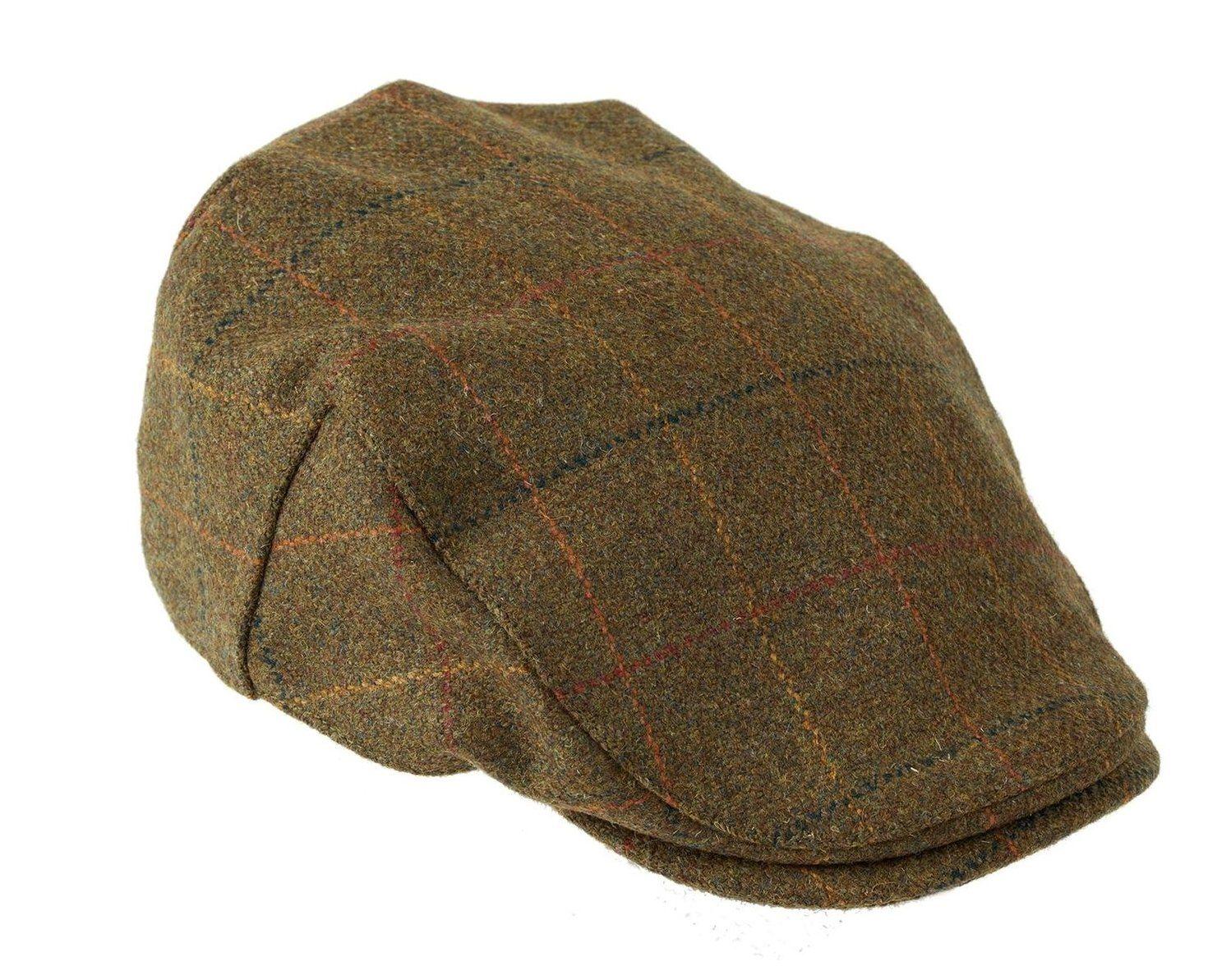 Shetland Wool Kinloch Waterproof Tweed Flat Cap in Brown with Check Pattern  by Heather Hats eae8af5bdb29